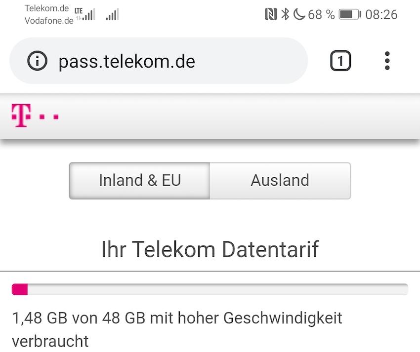 Datenzähler hängt bei 1,48 GB fest (Foto: SmartPhoneFan.de)
