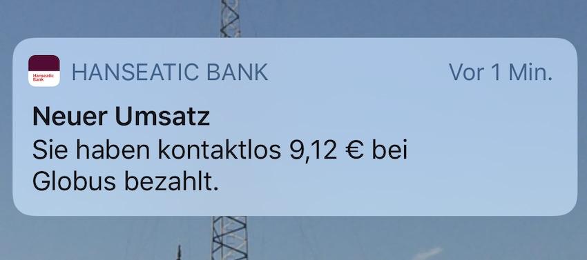 Push-Nachricht von der Hanseatic Bank (Foto: SmartPhoneFan.de)