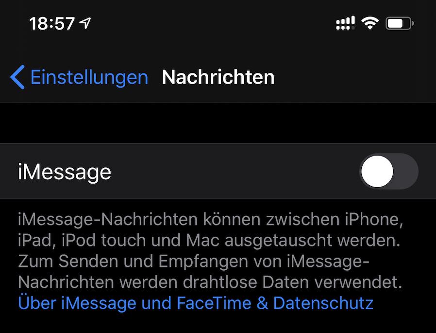iMessage deaktiviert (Foto: SmartPhoneFan.de)