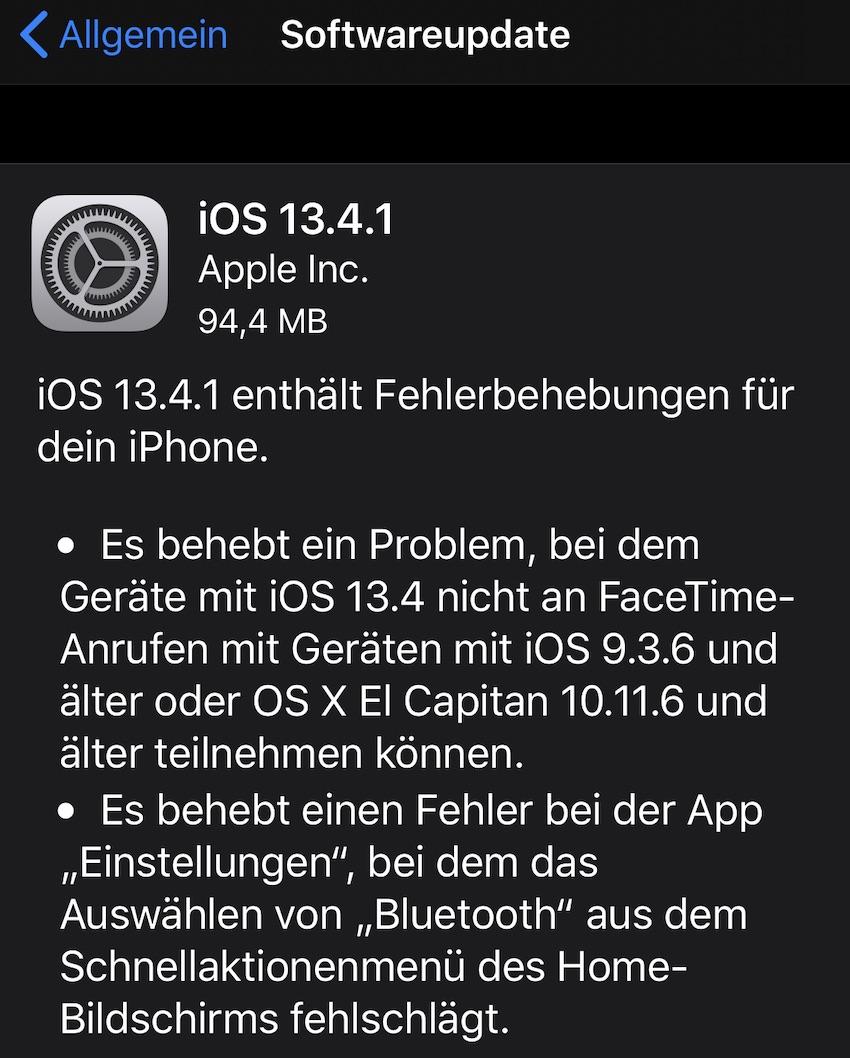 iOS 13.4.1 installiert (Foto: SmartPhoneFan.de)