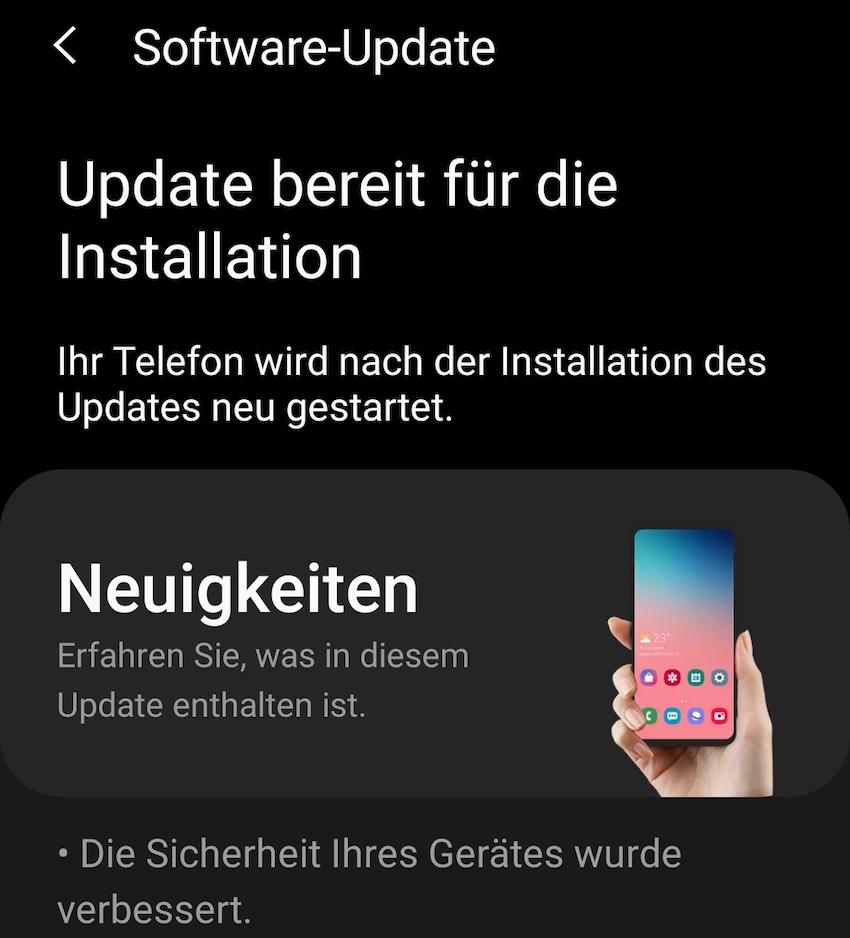 Mai-Update auf dem Sansung Galaxy S20 Ultra (Foto: SmartPhoneFan.de)