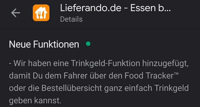 Lieferando mit Trinkgeld-Funktion (Foto: SmartPhoneFan.de)