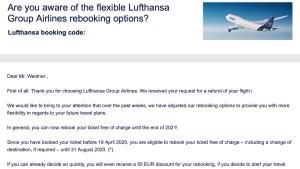E-Mail von der Lufthansa (Foto: SmartPhoneFan.de)