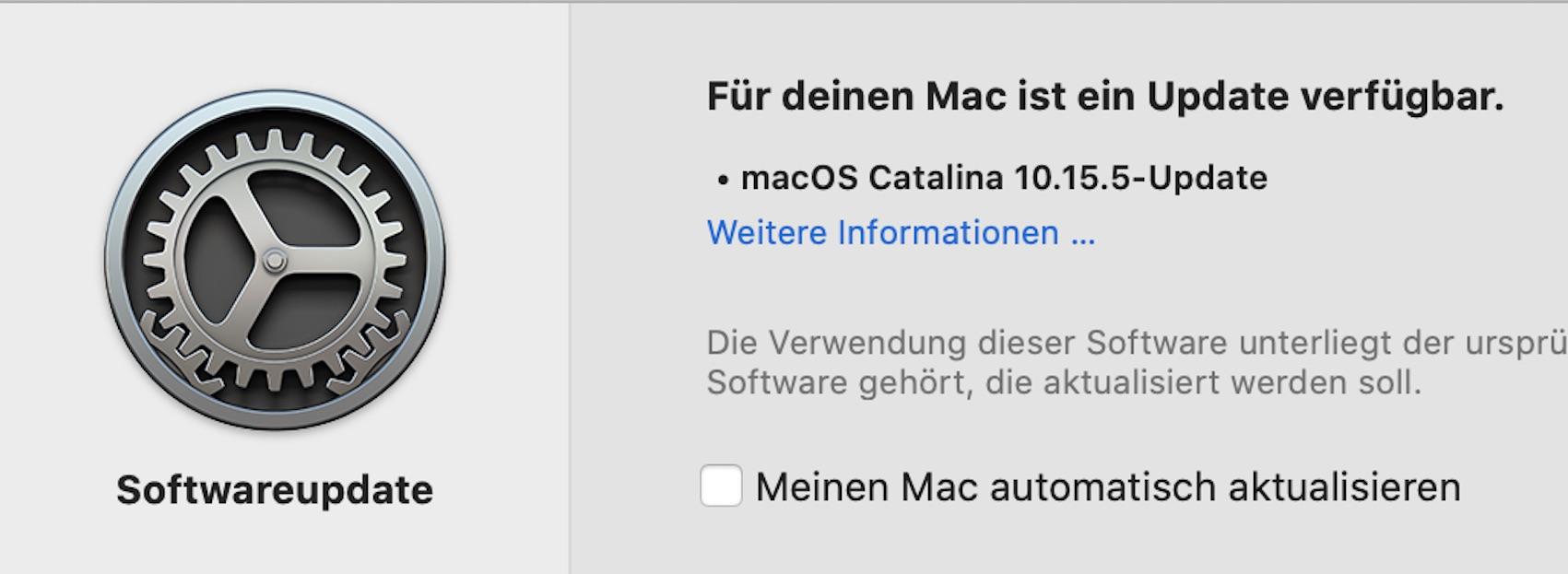 macOS 10.15.5 installiert (Foto: SmartPhoneFan.de)