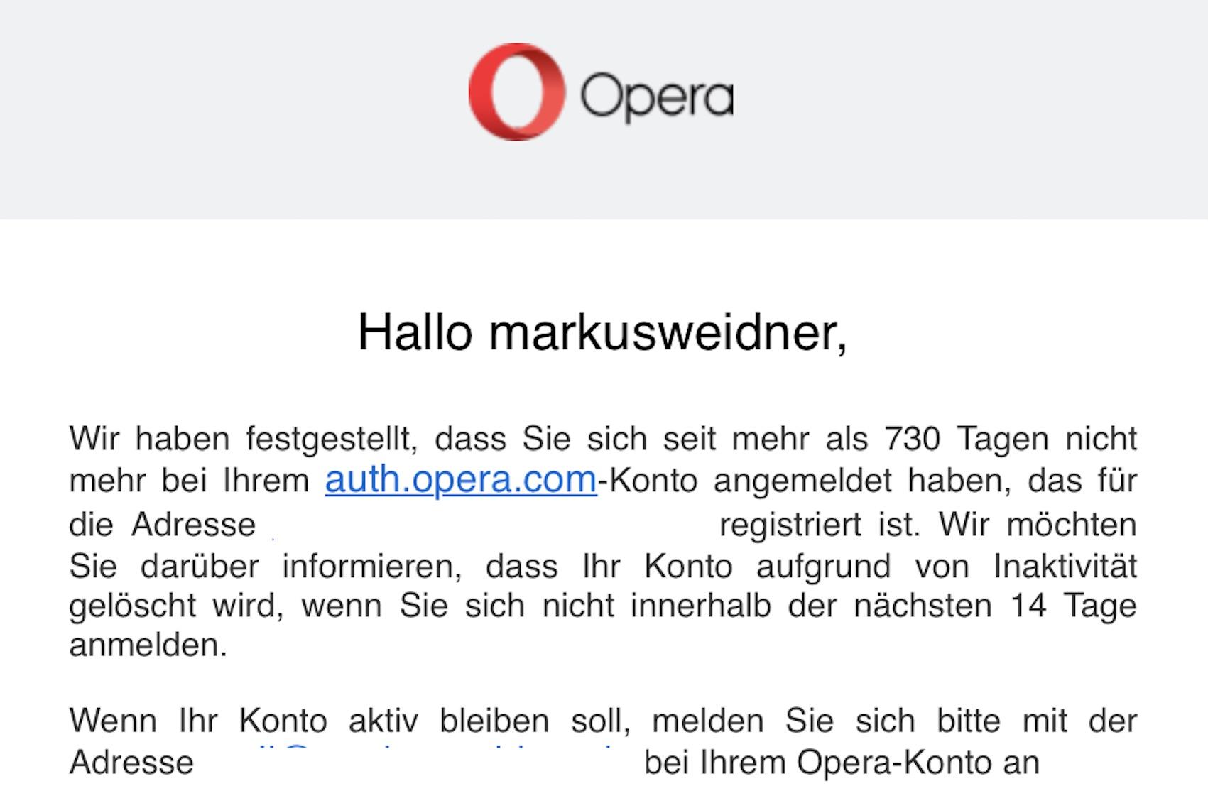 Aus für Opera Konto (Foto: SmartPhoneFan.de)