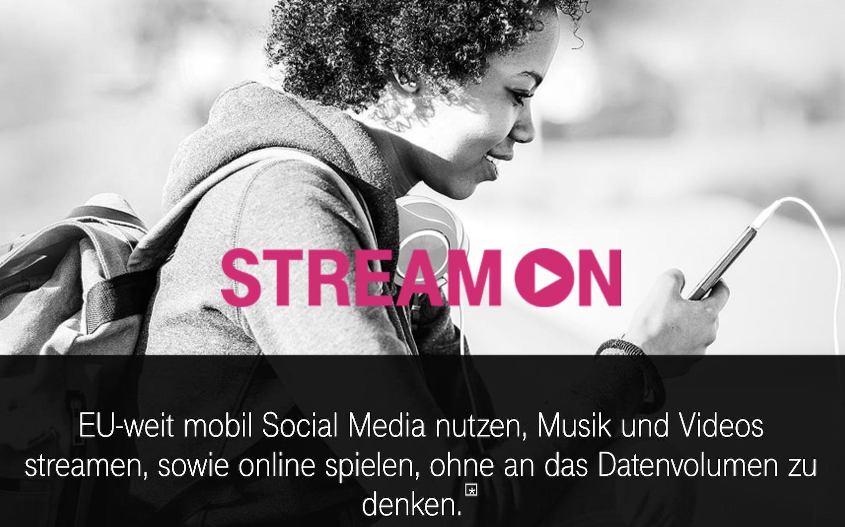 Telekom wirbt mit StreamOn im EU-Roaming (Quelle: telekom.de, Screenshot: SmartPhoneFan.de)