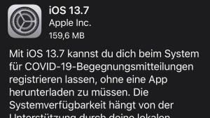 iOS 13.7 installiert (Screenshot: SmartPhoneFan.de)