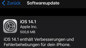 iOS 14.1 installiert (Foto: SmartPhoneFan.de)