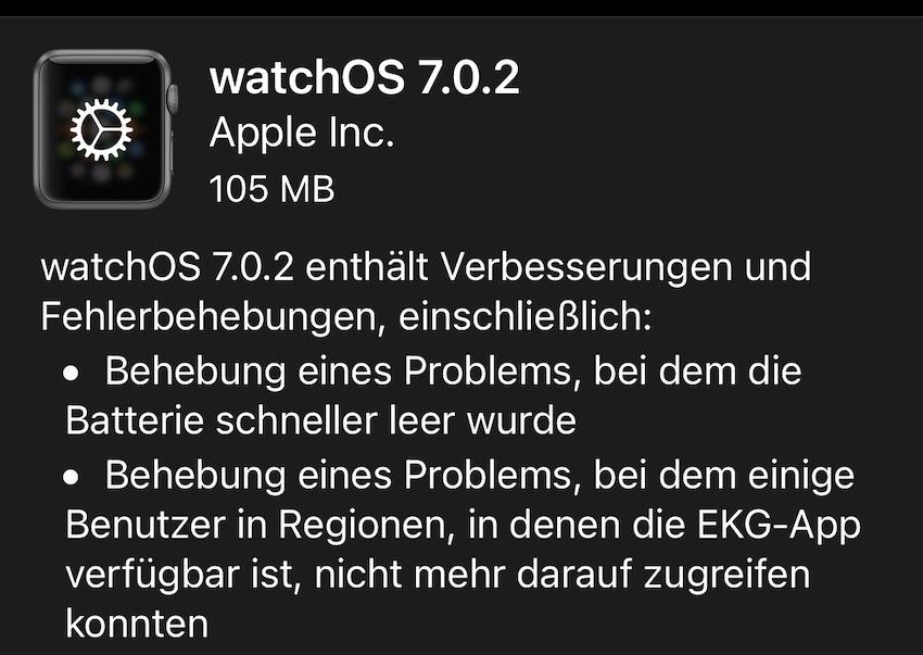watchOS 7.02 installiert (Foto: SmartPhoneFan.de)