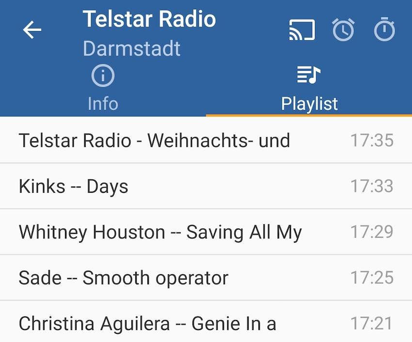 Online Radio Box mit Playlisten (Screenshot: SmartPhoneFan.de)