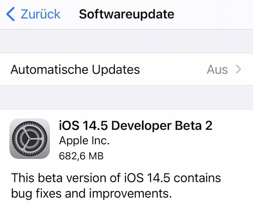 Zweite Beta von iOS 14.5 (Screenshot: SmartPhoneFan.de)