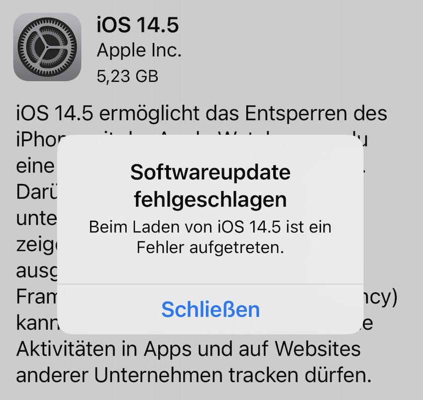 Update nicht im ersten Anlauf (Screenshot: SmartPhoneFan.de)