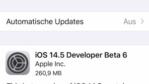 iOS 14.5 Beta 6 installiert (Foto: SmartPhoneFan.de)