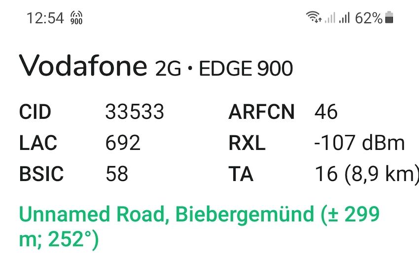 Derzeit nur schwaches Vodafone-Signal aus 9 km Entfernung (Foto: SmartPhoneFan.de)