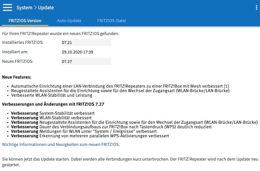 FRITZ!OS 7.27 für den FRITZ!Repeater 3000 (Screenshot: SmartPhoneFan.de)
