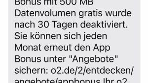 SMS-Info zu o2 App Bonus (Foto: SmartPhoneFan.de)