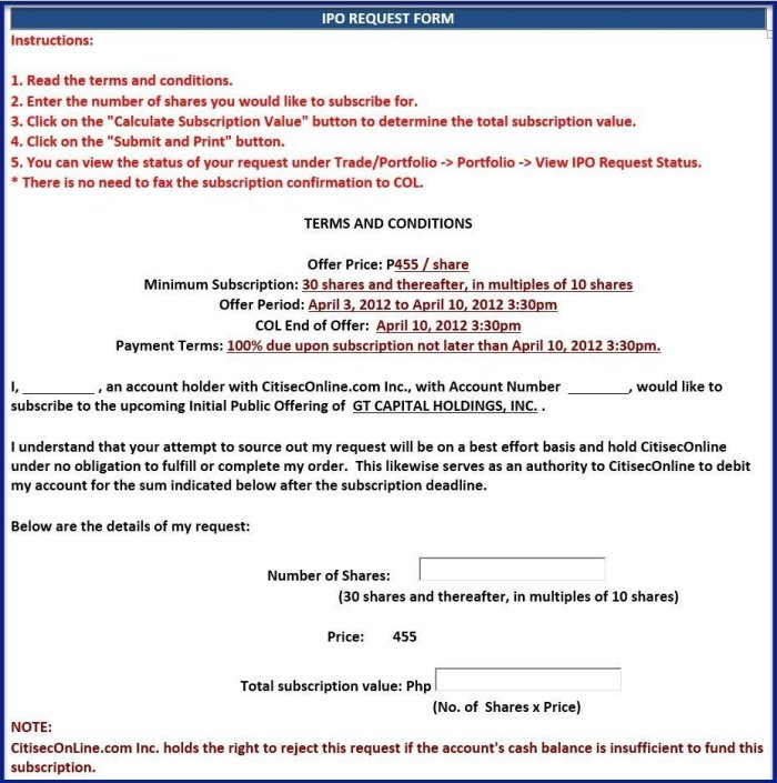 Offer document in ipo