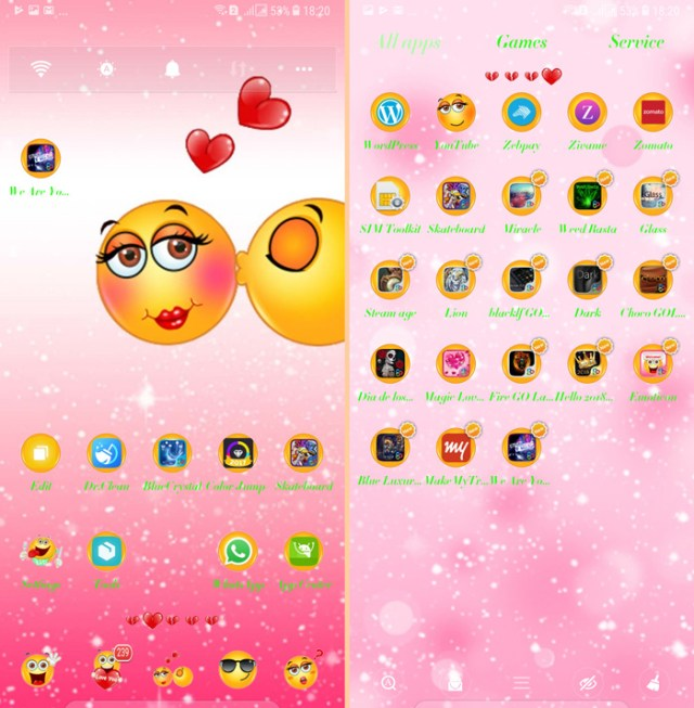 emotion is a cute emoji based romantic theme the icon pack uses emojis to descripe and represent all popular apps for instance a face with a broad smile