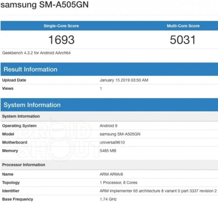 Samsung SM-A505GN Credits: Droidshout.com