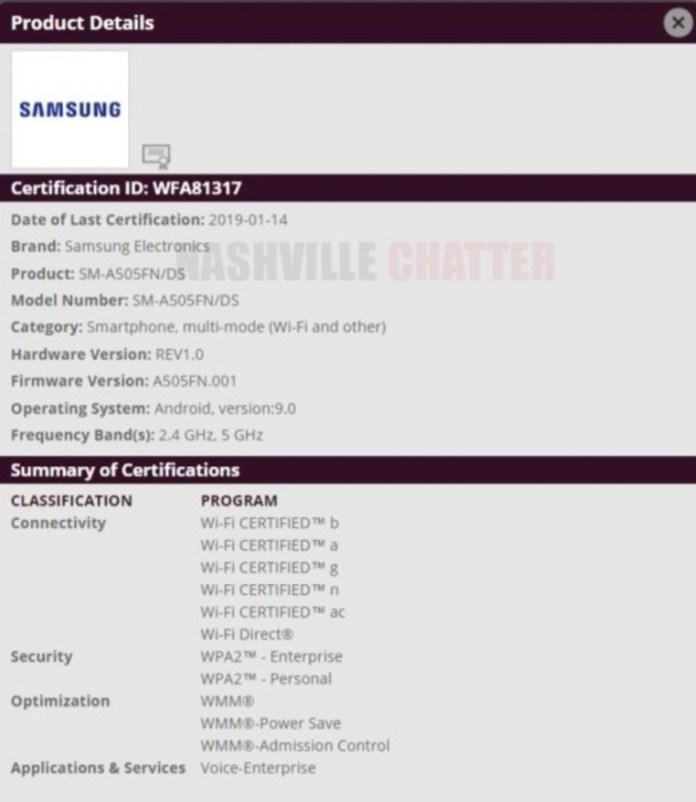 Samsung SM-A505GN Credits: https://www.nashvillechatterclass.com/