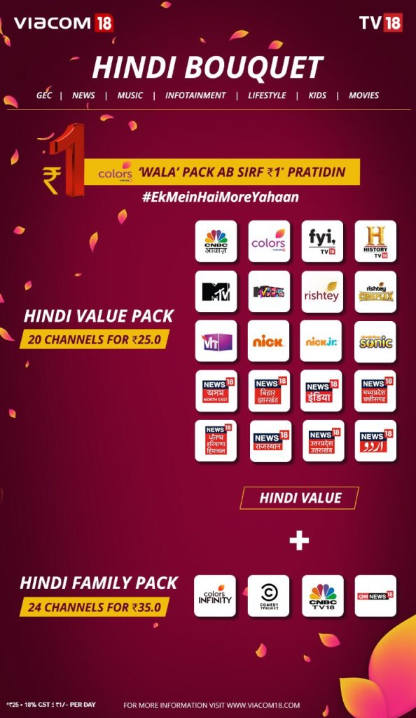Updated Hindi TV channel packs price list after new TRAI rule