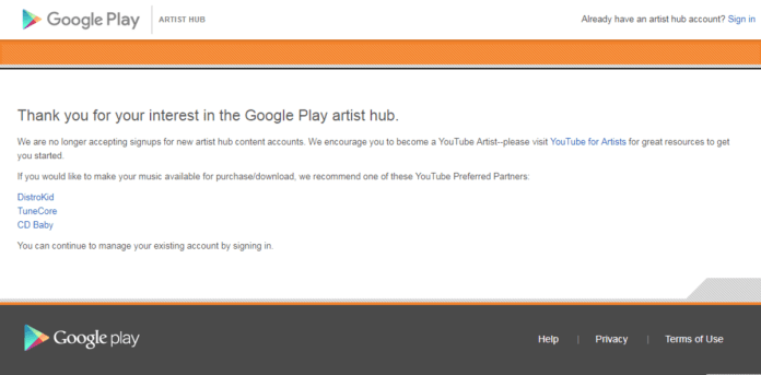 Google Play Music Artists Hub