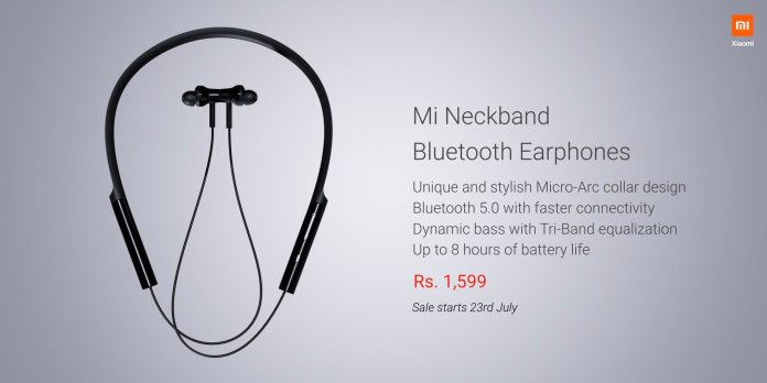 Mi Neckband Bluetooth earphones launched in India