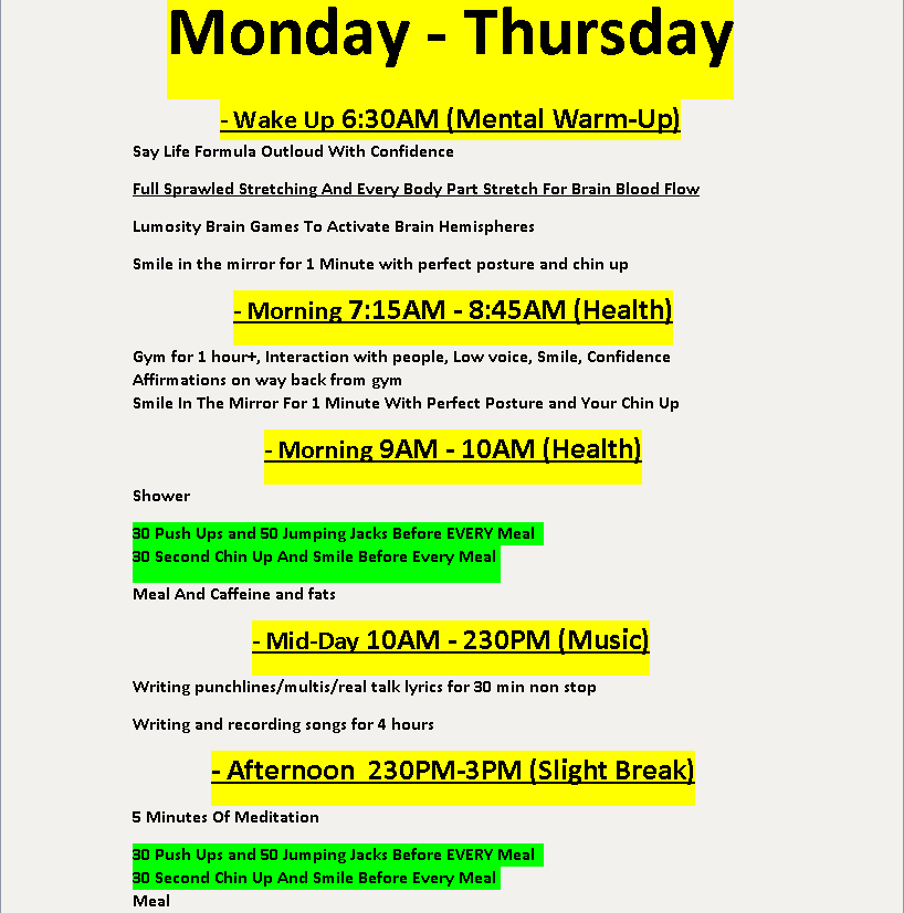 daily schedule of successful rappers