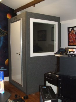 home studio booth with glass