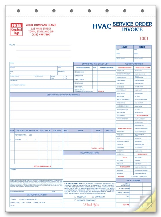 HVAC Service Orders with Checklist Ref 65313