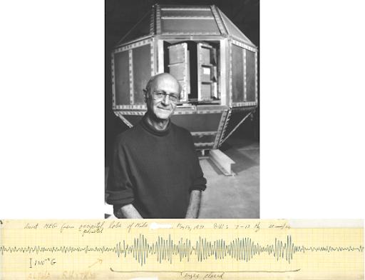 Imagen: Estructura blindada del MIT en la que David Cohen (en la imagen) obtuvo el primer MEG humano decente, el que aparece en la parte inferior.