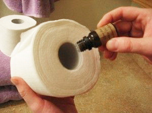Pick your favorite fragrance, place a few drops inside of a toilet paper roll, and the scent gets activated anytime someone pulls off some toilet paper from the roll!