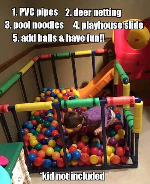This DIY Ball pit looks like fun! Save this project for someone who has young kids -