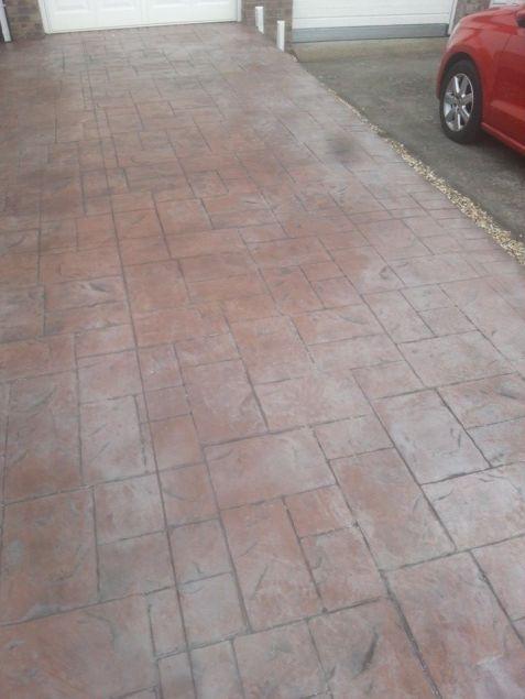 Pattern Imprinted Concrete Driveway Before Sealing.