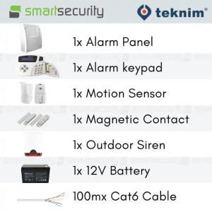Teknim Wired Intrusion Alarm Kit-  Loud Siren with landline Dialler- for home and business