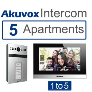 This is a picture of Akuvox 5 apartments Video intercom SIP with mobile App provided by Smart Security in Lebanon