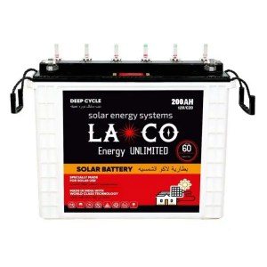This is a picture of the Laco Tubular Battery 12V-200AH Deep Cycle provided by Smart Security in Lebanon