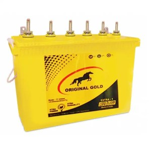This is a picture of the Original Gold Tubular battery 12V-220AH Deep Cycle provided by Smart Security in Lebanon