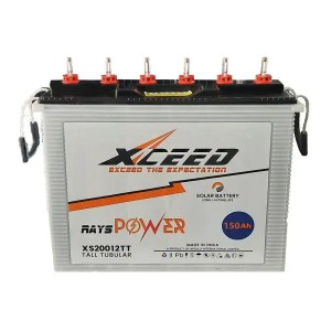 This is a picture of the Xceed Tubular battery 12V-150AH Deep Cycle provided by Smart Seurity in Lebanon