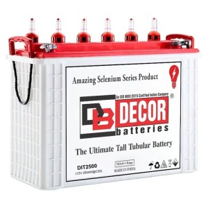 This is a picture of the Decor Brand Tubular Battery 12V-250AH Deep Cycle sold in Lebanon by Smart Security