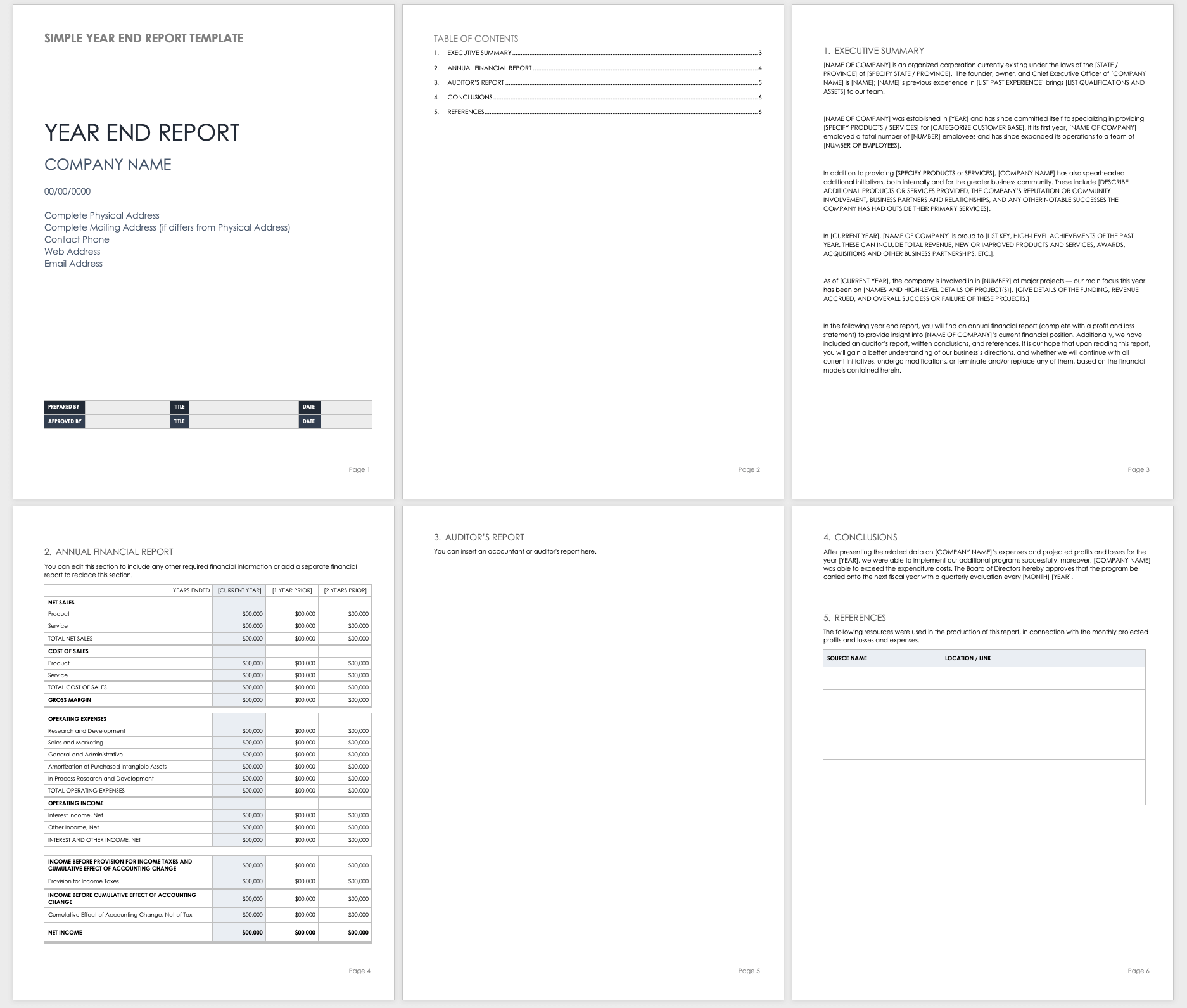 Free Year End Report Templates