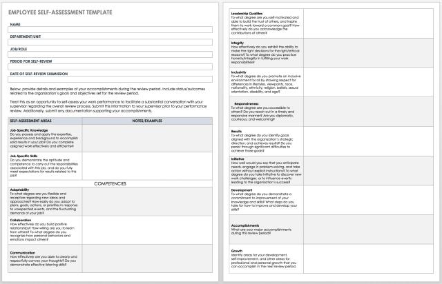 Free Self-Evaluation Templates  Smartsheet