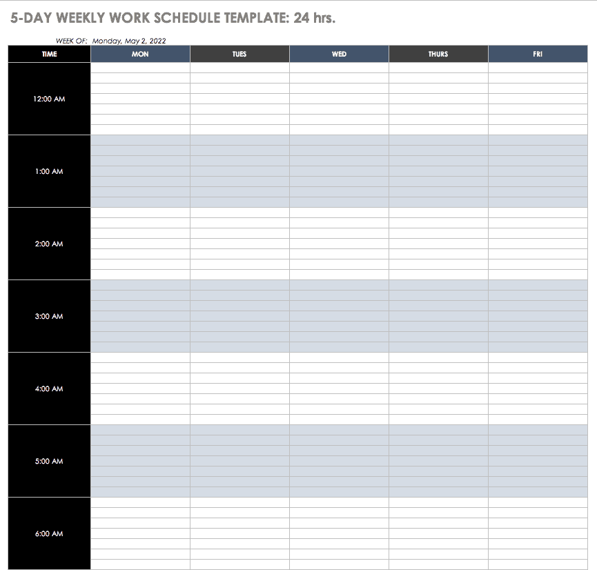 An employee work schedule template is a crucial arm in handling your human resources, so you can control your project as it progresses through the calendar. Free Work Schedule Templates For Word And Excel Smartsheet