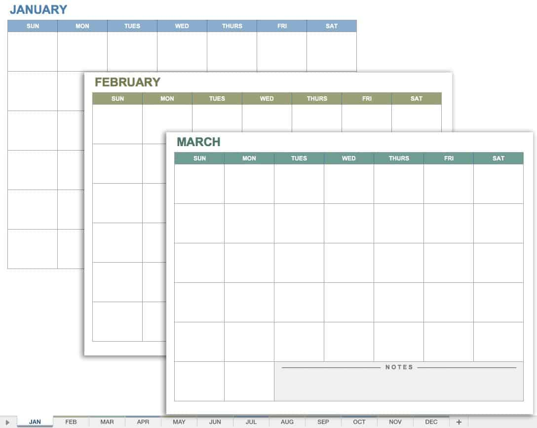15 Free Monthly Calendar Templates