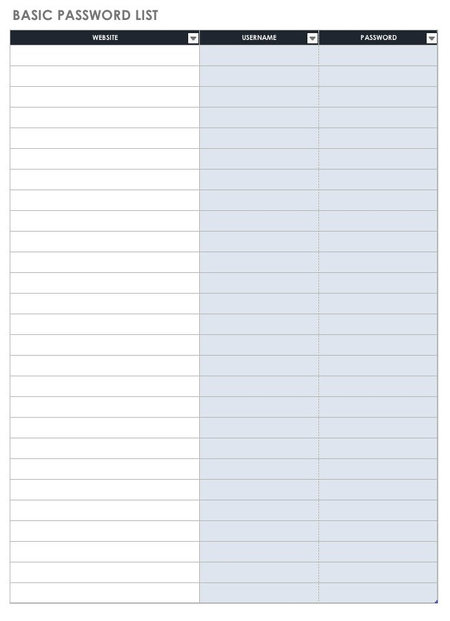 Do this to keep track of all the employee passwords. Free Password Templates And Spreadsheets Smartsheet