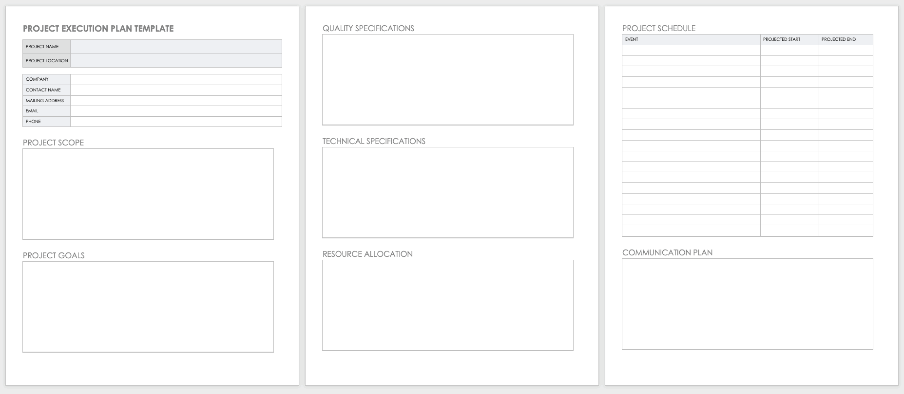 Free Project Plan Templates For Word