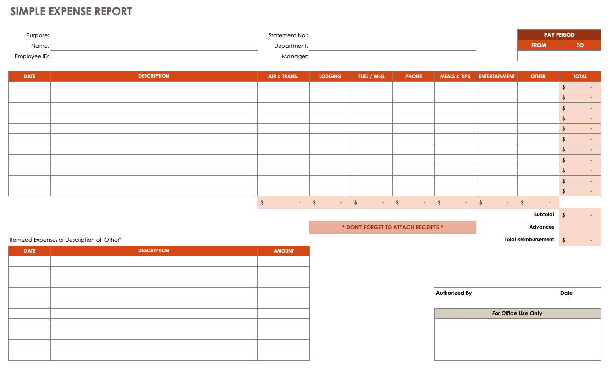 This is a basic excel expense report template for describing costs, listing amounts, and recording the dates of each transaction. Free Expense Report Templates Smartsheet