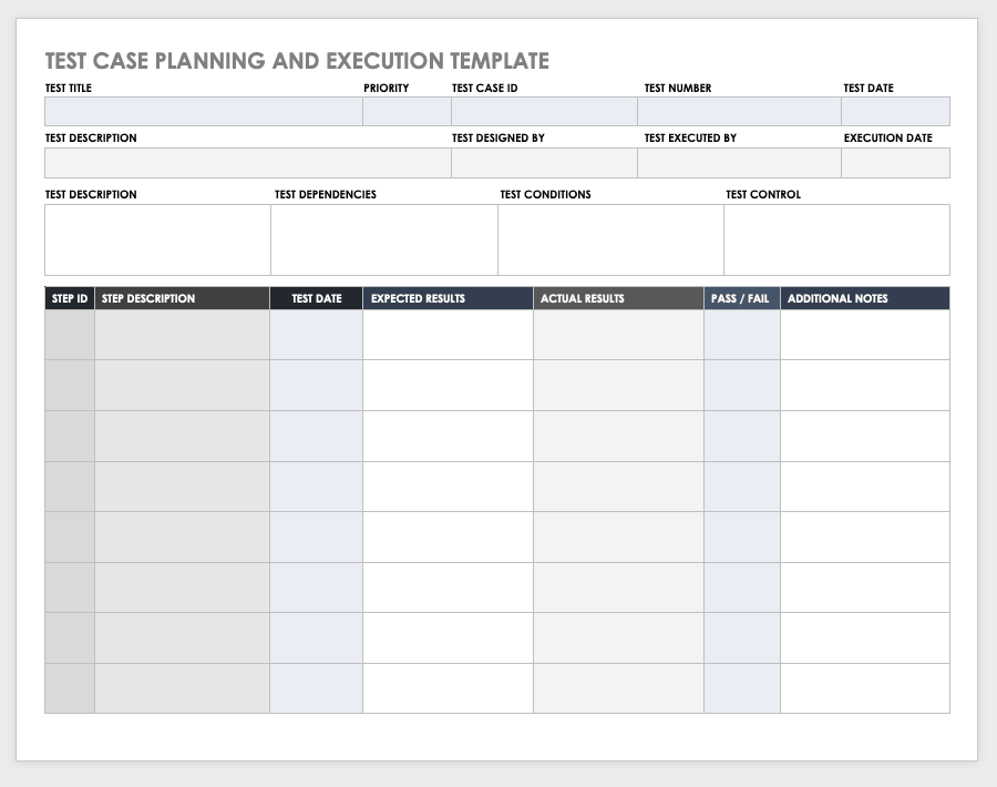 The test plan document documents and tracks the necessary information required to effectively define the approach to be used in the testing of the project's product. Free Test Case Templates Smartsheet