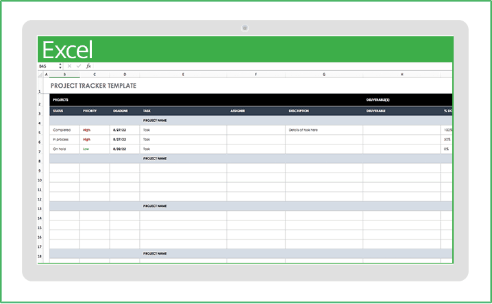 The template offers a dashboard view, so you can keep tabs on the details and see the big picture. Free Excel Project Management Templates Smartsheet