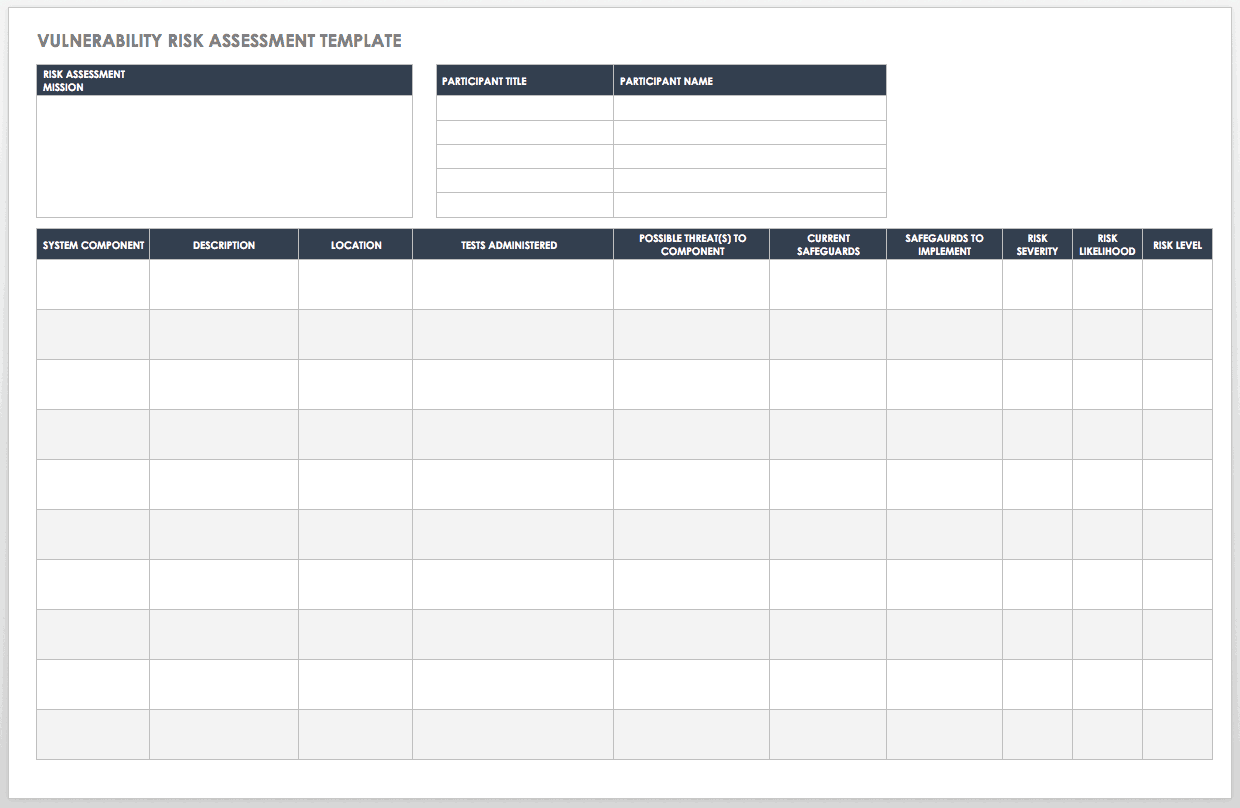 Use this template as a guide for the following: Free Vulnerability Assessment Templates Smartsheet